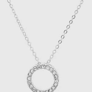 Crystal Pave Open Round Pendant Necklace